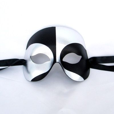 A simple and affordable masquerade mask for men, black and silver robot finish that fastens with black satin ribbons