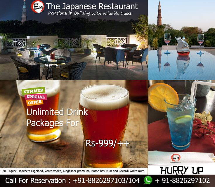 Don't miss out on our Drink Packages at the #restaurants during the day. Call us: Phone: +91-8826297103/104|marketing@en-india.com Visit us more: http://www.en-india.com/offer. IMFL liquor: Teachers Highland, Verve Vodka, Kingfisher premium, Pluton bay Rum and Bacardi White Rum.