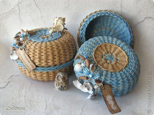 Поделка изделие Плетение Пара морских шкатулок Бумага газетная Трубочки бумажные фото 1