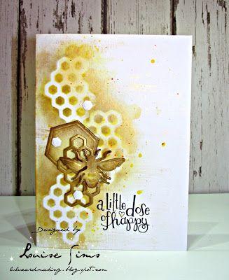 Spellbloggers post using Spellbinders Honey Bee dies coloured with distress inks & Nuvo embellishment mousse.  Lulu and Cardmaking.  #spellbinders  #spellbloggers  #neverstopmaking