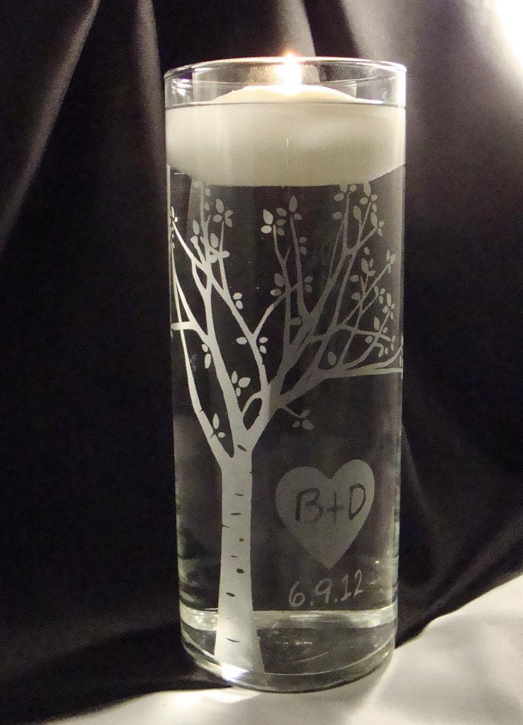 Rustic Blooming  Sweetheart Tree Personalized Etched Glass Unity Candle Vase w/ Floating Candle. $36.95, via Etsy.