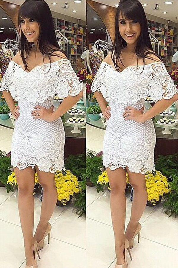 Gorgeous Off-shoulder Cover Bust Lace Mini Dress