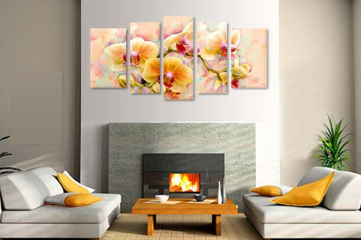 Tablouri Orhidee pictata 2391  Dimensiuni: 2x 30x50 + 2x 25x60 + 1x 25x70  Total ocupat: 135x 70 cm