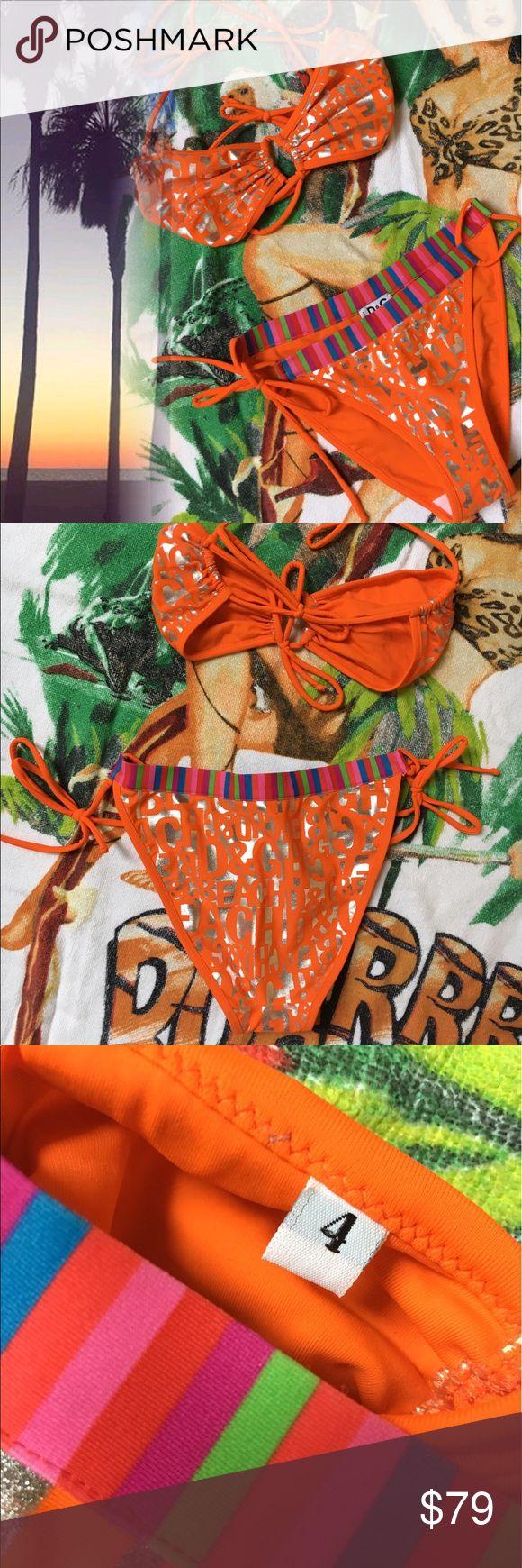 ☀️NEW☀️D&G Bikini New without tags ..keyhole bandeau top with tie straps .. side tie bottoms.. metallic silver spec pattern..pretty bright orange really brings out your tan!! Size 4 EURO/ITL size M/L us Dolce & Gabbana Swim Bikinis