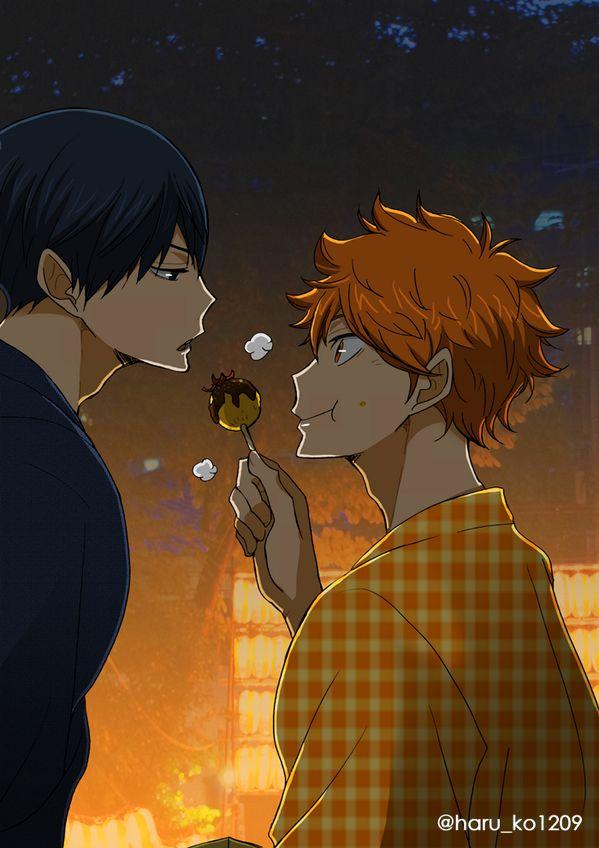 Haikyuu!! ~~ Sharing takoyaki :: Kageyama and Hinata