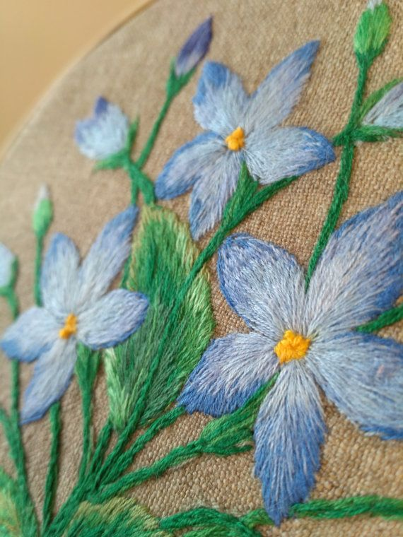 Hand Embroidered Bluettes ~ Blue Flowers ~ Rustic Home Decor on Burlap ~ Wall Art Meadow Flowers for Country Chic ~ Vintage Style Decor Satin stitch hand embroidery executed on burlap is the perfect choice for rustic decor lovers. This home decor with medow flowers is represented in