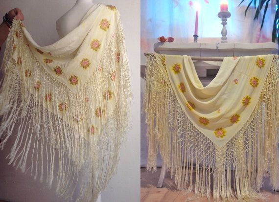 Vintage Antique silk piano shawl. Amazing by VintageVanillaShop