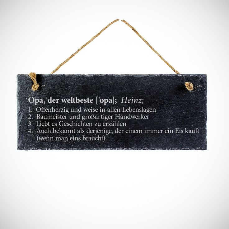 Ob als Türschild, Klingelschild oder als Dekoration für das Arbeitszimmer - unsere Schiefertafel zum Aufhängen mit Gravur - Definition Opa - Türschild ist ein echter Hinkucker, und perfekt für alle, die es etwas besonders lieben.