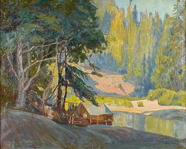 Aaron Edward Kilpatrick (American, 1872-1953) Cabin in the High Country 24 x 30in