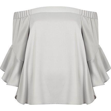 Light grey bardot flared sleeve top $70.00