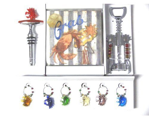 Crab Wine Accessory Gift Set - Includes Stopper, 6 Charms, 20 Napkins and a Cork Screw - Perfect Gift / Hostess Gift . $22.99. Includes one glass Crab stopper, 6 Crab charms, 20 Napkins and a coordinating cork screw. Crab Wine Accessory Set. New. Makes a great hostess gift. Crab Wine Accessory Set.  Includes one glass Crab stopper, 6 Crab charms, 20 Napkins and a coordinating cork screw.    Makes a great hostess gift.  New