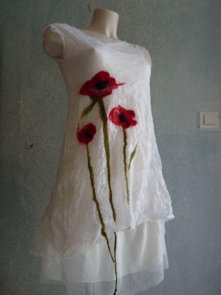 robe tunique coquelicots laine feutrée de lap.titejosette sur DaWanda.com