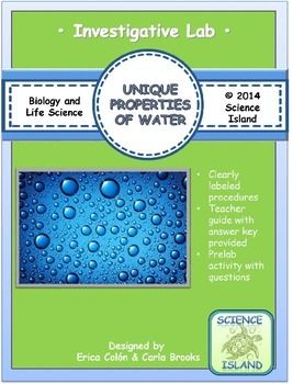 What a fun way to explore the amazing properties of water! Designed for the first unit in a high school Biology class.