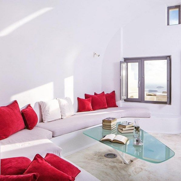 "Make your #Suite at #AstraSuites your newly acquired ""treasure"". Minimal styling in perfect marriage with the Cycladic tradition.  Fitted ultra sized beds, pure cotton linens of high quality, brightly colored bathrooms, discreet hidden lightings, art paintings exclusively created by local artists. #ADayatAstraSantorini http://blog.tresorhotels.com/en/secrets/hotels/1380-adayatastrasantorini-mia-mera-sto-astra-suites-sth-santorinh-me-ton-general-manager-giwrgo-karagiannh"