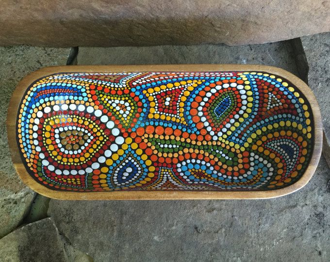 Hand Painted Wooden Bowl with Aboriginal Pattern