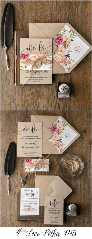 We Do ! <3 Boho Floral Wedding Invitations with tag and twine #weddingideas #weddings #boho #bohemian #watercolor #floral #flowers #eco #ecofriendly