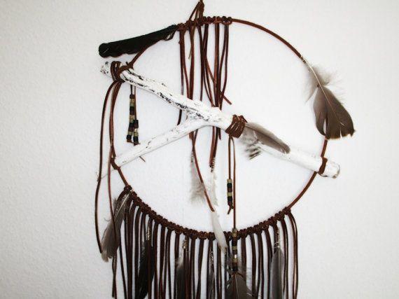 Traumfänger aus echtem Leder/ Holz/ Federn by von NagualSpirit