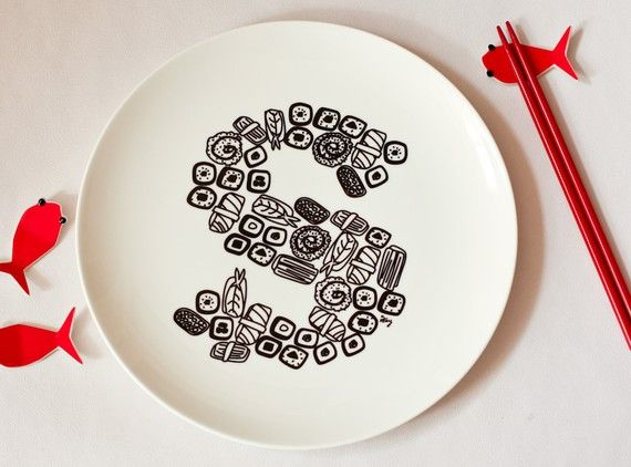 S for Sushi  Alphabet Ceramic Plate Black by justnoey on Etsy, £30.00