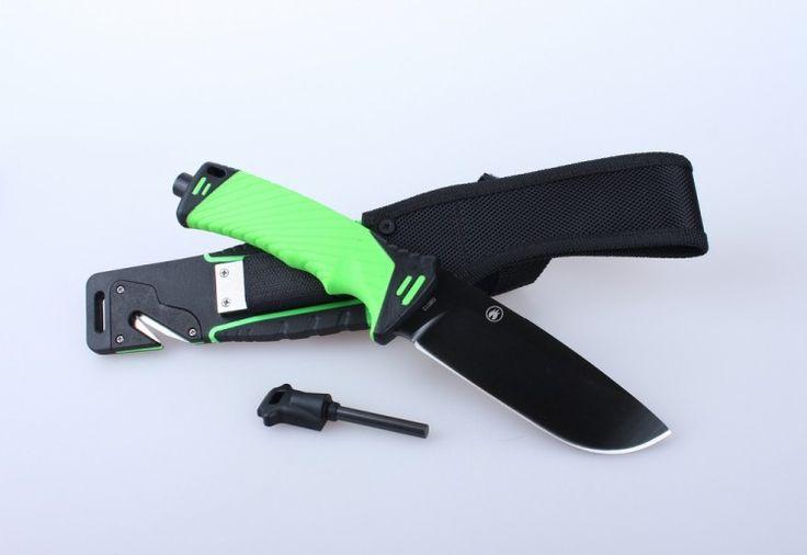 Нож для выживания с огнивом и точилкой Ganzo G8012, зеленый - купить в интернет магазине