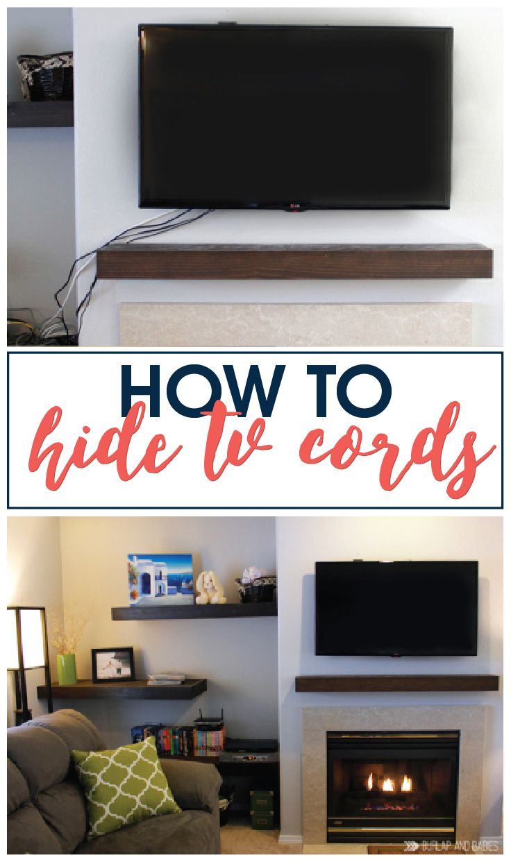 How to hide tv cords // There is nothing that messes up a beautiful room like a mess of ugly cords. Here is a simple way to hide the cords.