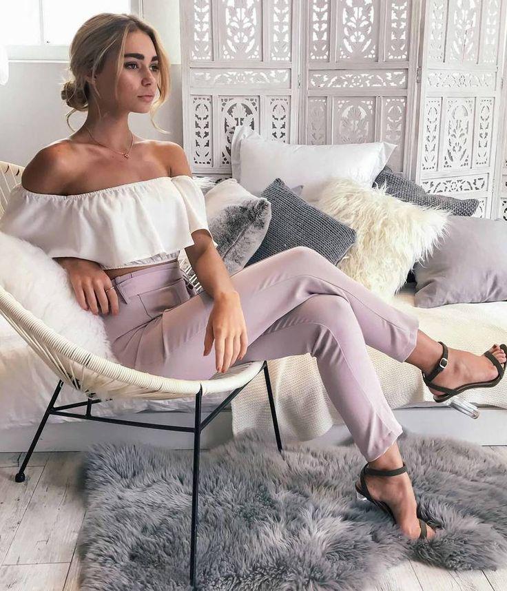 #fall #outfits shoulderless crop top pastel pants