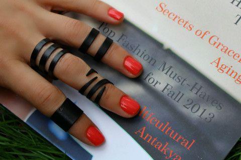 Siyah Çapraz Eklem Yüzük, Siyah / Ayarlanabilir, Yüzük Set, Takimania - 1