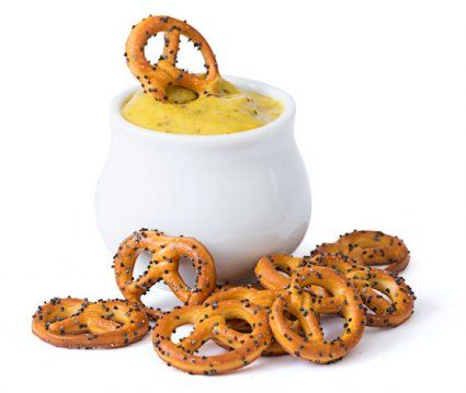 image of beer mustard with poppyseed pretzels