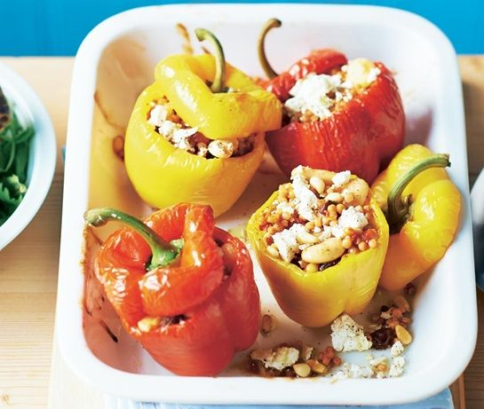 an easy, everyday recipe for red and yellow peppers stuffed ..