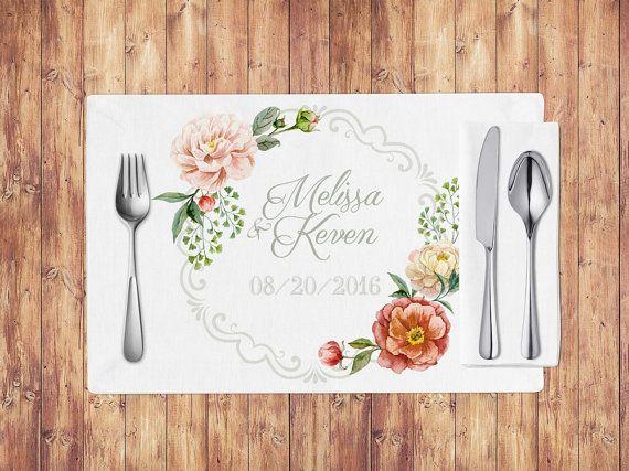 Wedding placemats, wedding table decoration, custom placemats, printable placemats, shabby chic wedding, vintage flowers, wedding decor #OBercailDesign