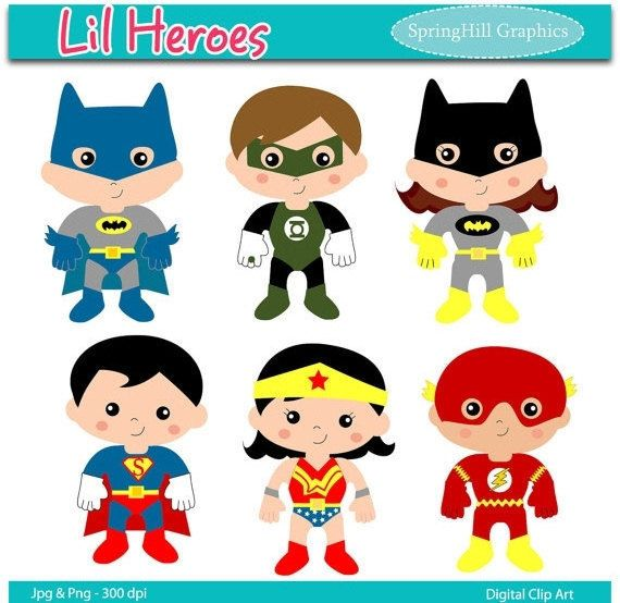 Lil Heroes Digital Clip Art Web Design Card by SpringHillGraphics