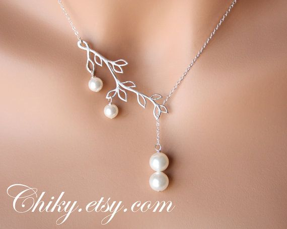 Wedding jewelry Sets of Pearl  Lariat Necklace with Leaf branch - SILVER , bridal jewelry , elegant modern, brings gracefulness to the Bride