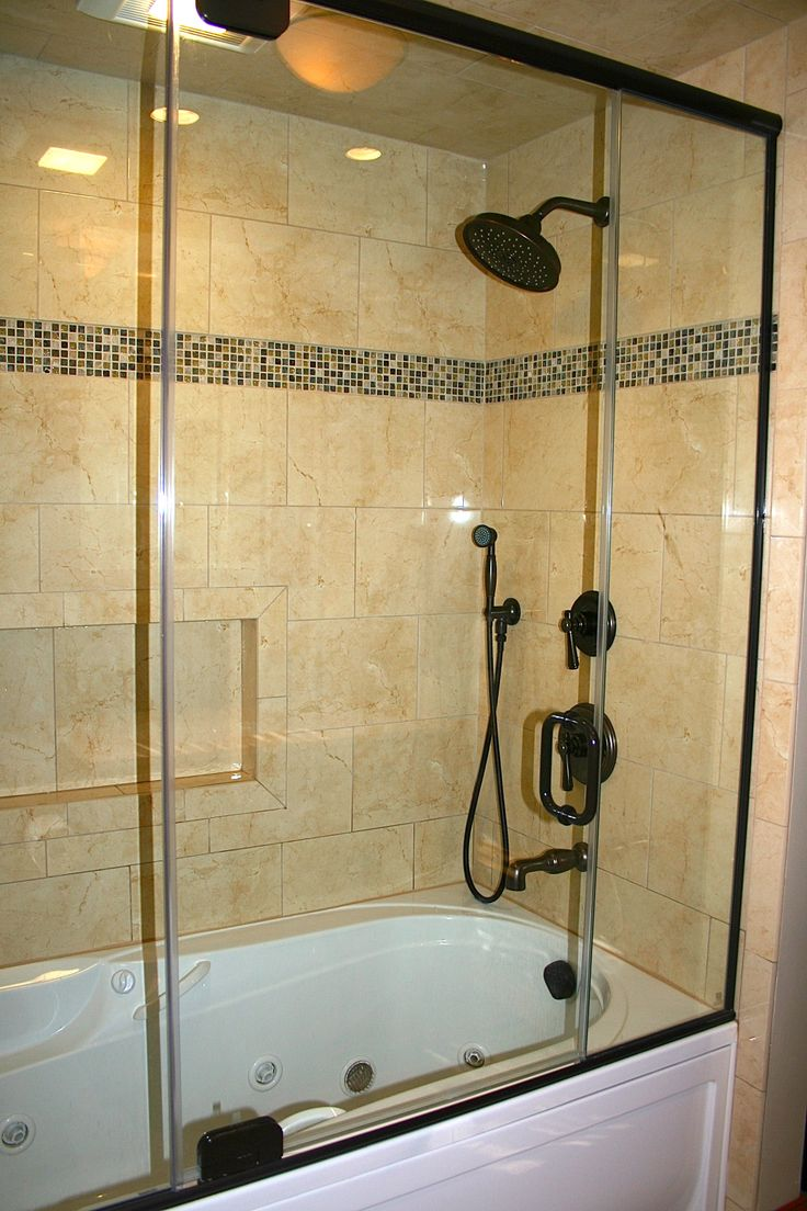 Whirlpool Tub Semi Frameless Glass Shower Porcelian Tile And Symmons Dega Oil Rubbed Bronze