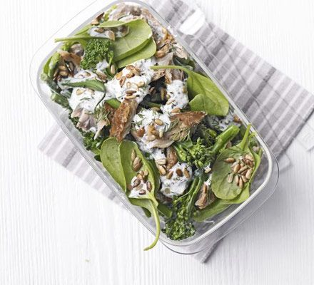 Green beans, spinach and broccoli make a great base for a healthy lunchbox treat with oily fish and yogurt dressing