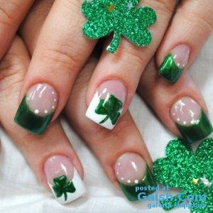 Shamrock nails go with the wedding party dress/tux colors