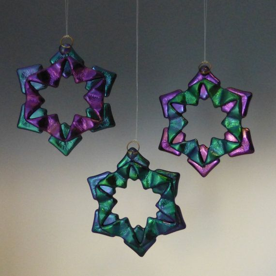 BAUBLES Cool Tones Black Iridized Fused Glass Snowflake by TheWoCo, $18.00