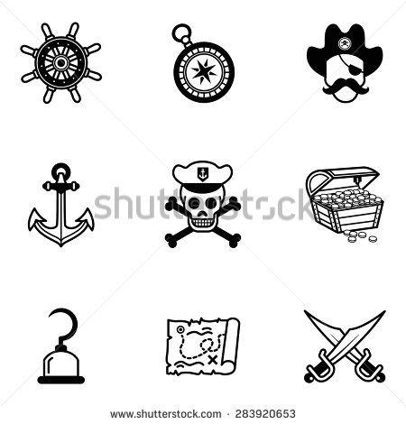 Vector Black Pirates Icon Set