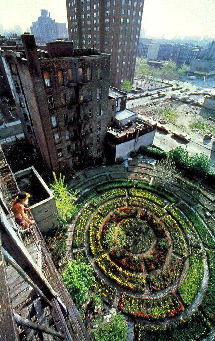 Inner City Organic Permaculture Garden. Adam Purple overlooking his garden in the 70's or the 80's. This garden was bulldozed by the city of NY.