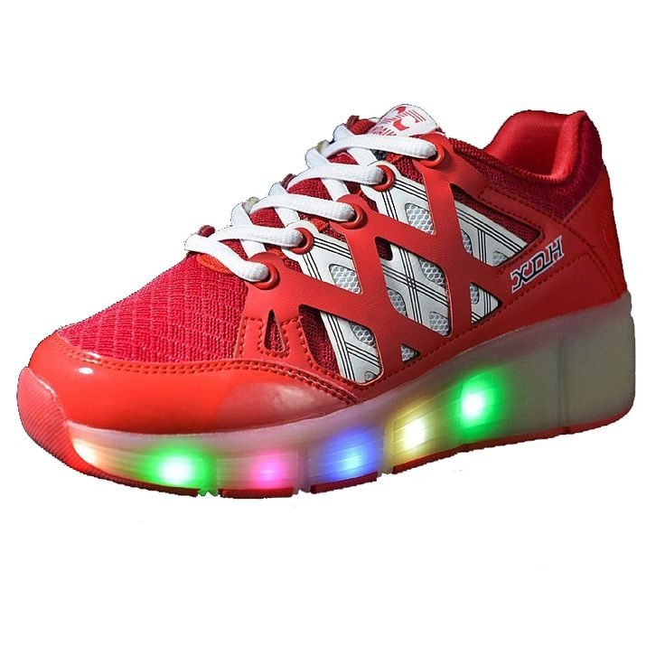 (33.99$)  Know more - http://aietq.worlditems.win/all/product.php?id=32787766355 - Red Wheelie Shoes Illuminated Sneakers Tenis Com Rodinha Zapatillas Con Ruedas Para Ninas Roller Skate Shoes for Kids Size 27-43
