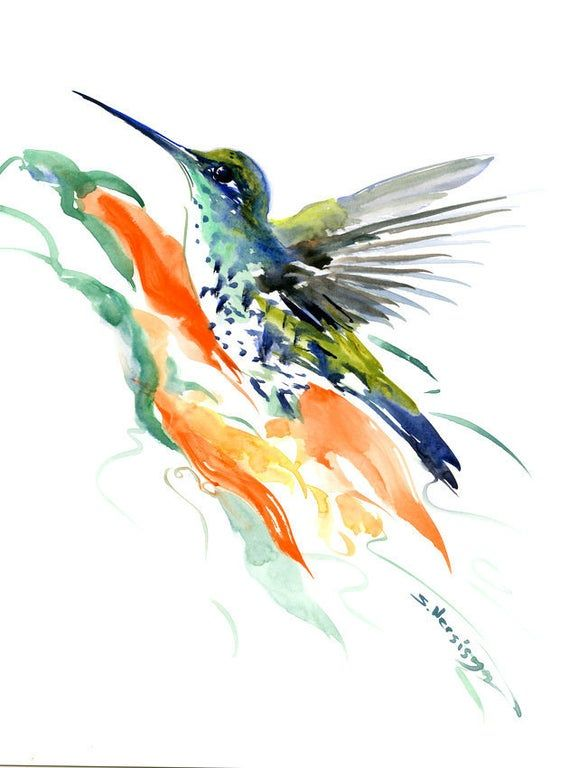 Kolibri Und Paradiesvogel Blume Wandkunst Kolibri Kolibri Kunst