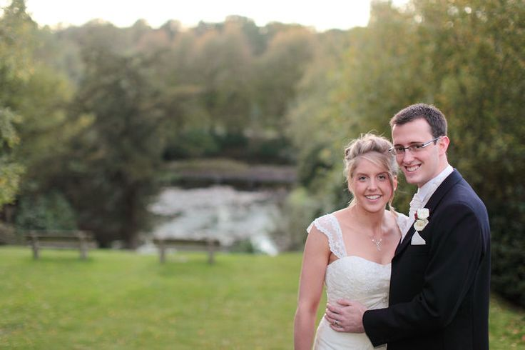 External shot of the bride and groom.