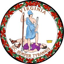 """Thus always I rip off tyrants' life""   A common joke in Virginia, referencing the image on the seal and dating at least as far back as the Civil War, is that ""Sic semper tyrannis"" actually means ""Get your foot off my neck.""  the principal figure ... representing Liberty, who, with a lance in her right hand, is standing over the conquered and prostrate tyrant, and apparently trampling on him with her heel."""