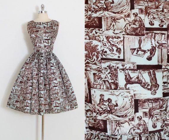 Vintage+50s+jurk++jaren+1950+nieuwigheid+afdrukken+jurk+
