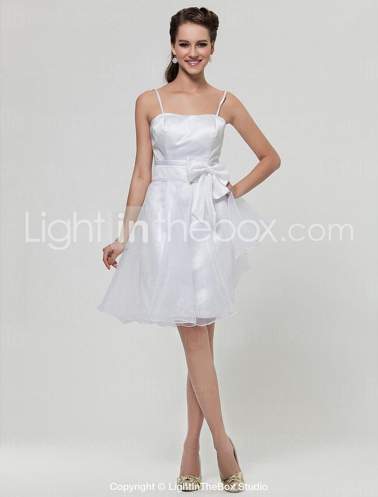 uma linha-namorada na altura do joelho de cetim e organza vestido de dama de honra - USD $ 89.99
