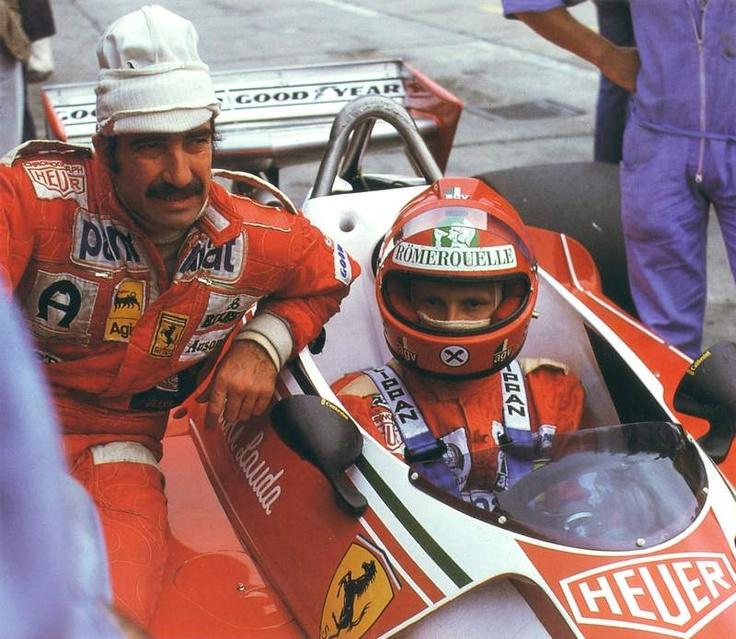 Ferrari teammates Regazzoni and Lauda, at some point early in the 1976 season.