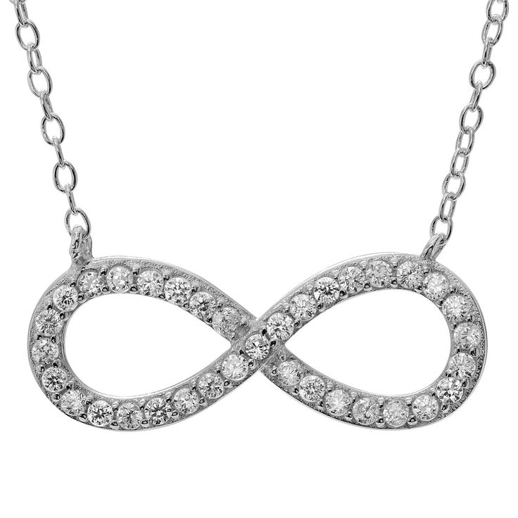 1/3 CT. T.W. Round-cut CZ Pave Set Infinity Pendant Necklace in Sterling Silver - Silver, Women's