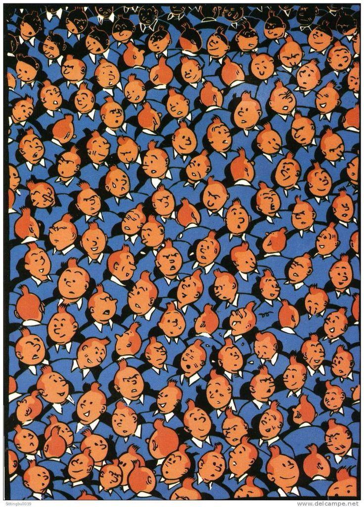 """Pixels """"Tintin"""" - different facial expressions"""