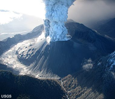 View of an eruption column from Chaitén Volcano, Chile, photographed on May 26, 2008. The caldera is about 3 km (1.9 miles) in diameter from rim to rim. The knobby feature between the eruption column and the left rim is part of a lava dome that formed after the 7,400 BC eruption. U.S. Geological Survey photograph by J.N. Marso.