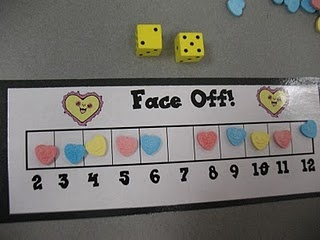 an addition game called face off. Each child put conversation hearts on his/her gameboard.  They took turns rolling 2 die and added the numbers together. They could eat the conversation heart on that number. The first person to eat all of the conversation hearts was the winner.