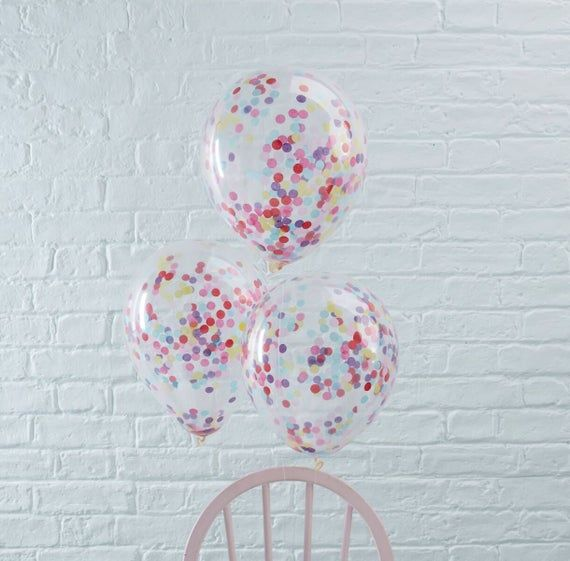 5 Pack Of Mini Filled Clear Latex Balloons With Gold Confetti Wands And Ribbons