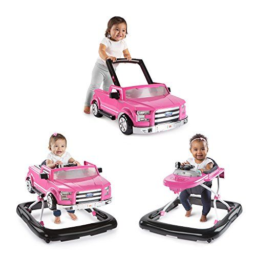 """NEW! Bright Starts 3 Ways to Play Baby Activity Walker Ford F-150 in Pink  Three modes allow the 3 Ways to Play Walker - Ford F-150 to grow with baby; Two can play at once with the normal walker mode and push-behind mode  To use in push-behind mode, simply lift the push bar and remove the truck from the walker base;. """"Steer"""" baby into imaginative play with authentic truck sounds, lights, gear shifter and steering wheel  Adjust the frame to three different height positions to keep littl..."""